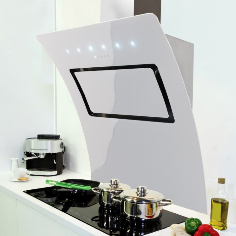 designer kitchen hood 100cm omaggio cooker white glass vision design 862