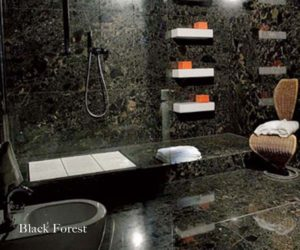 Dark stone bathroom
