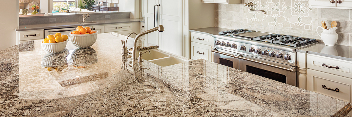Light marble kitchen counters